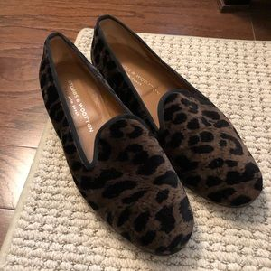 Vintage Stubbs & Wootton Velvet Leopard Flats Sz 9